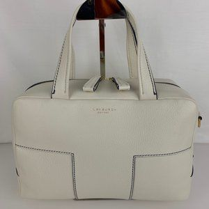 New Tory Burch Ivory Block-T Leather Satchel